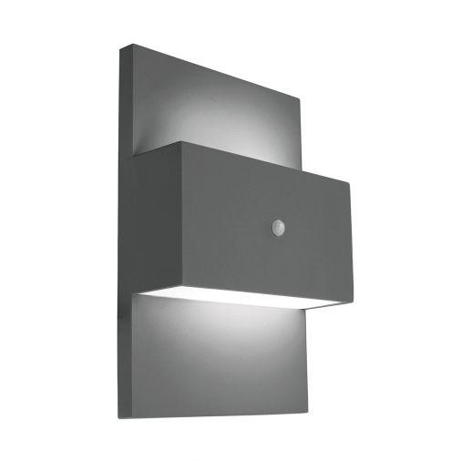Geneve 1lt Wall Light With Pir Graphite Black Outdoor Wall Lights